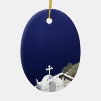White Church Ceramic Oval Decoration