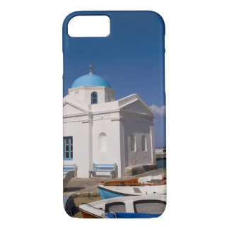 White church on the beach near the Aegean Sea on iPhone 7 Case