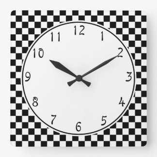 White circle Black Chequerboard pattern Wall Clock