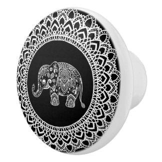 White Circle Mandala & White Paisley Elephant Ceramic Knob
