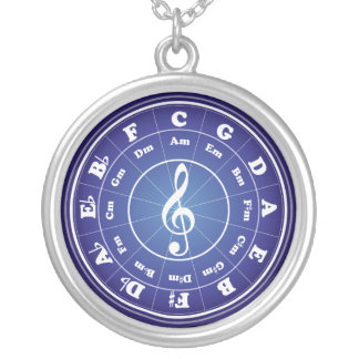 White Circle of Fifths Silver Plated Necklace