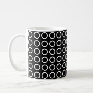 White Circles Black Coffee Mug