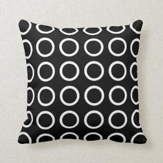 White Circles Black Cushion
