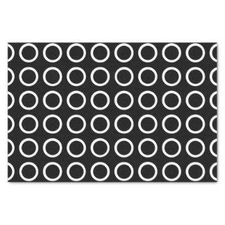 White Circles Black Tissue Paper