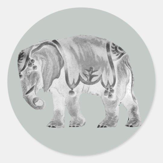 White Circus Elephant on Mercury Grey Classic Round Sticker