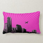 White city on pink background lumbar cushion