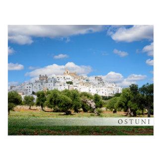 White city Ostuni, Puglia bar postcard