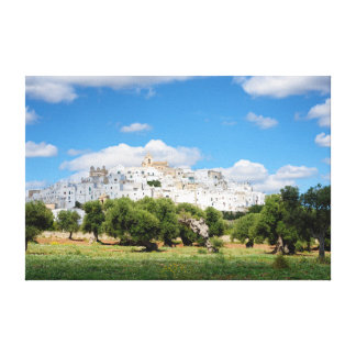 White city Ostuni with olive trees, Puglia canvas
