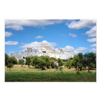 White city Ostuni with olive trees, Puglia print