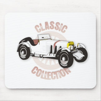 White classic racing car mouse pad