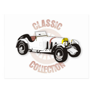 White classic racing car postcard