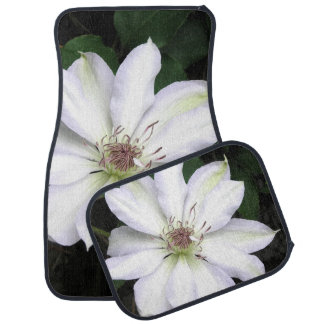 White Clematis Flower Car and Truck Mats Car Mat