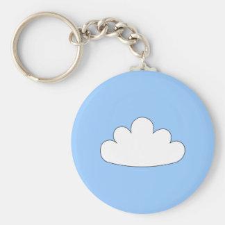White Cloud motif. On Blue. Keychain