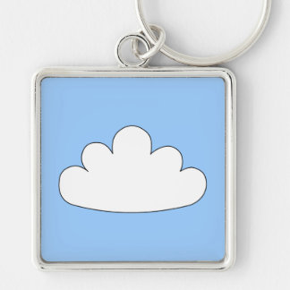 White Cloud motif. On Blue. Silver-Colored Square Key Ring