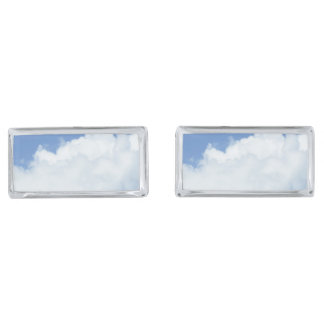 White Clouds in Blue Sky Silver Finish Cufflinks