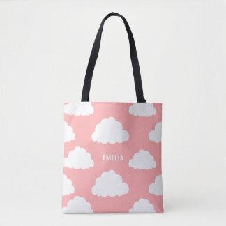 White Clouds Pattern Personalised Blush Pink Tote Bag