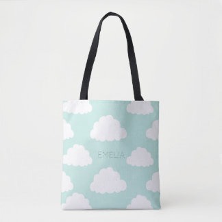 White Clouds Pattern Personalized Aqua Tote Bag