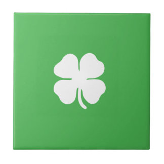 White Clover Leaf Ceramic Tile