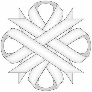 White Clover Ribbon Photo Sculpture Key Ring