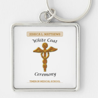 White Coat Ceremony Gold Medical, Square Gift Item Silver-Colored Square Key Ring