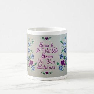 White coffee mug give
