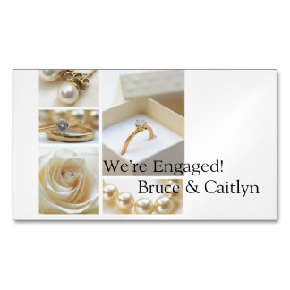 White collage engagement announcement magnetic business cards