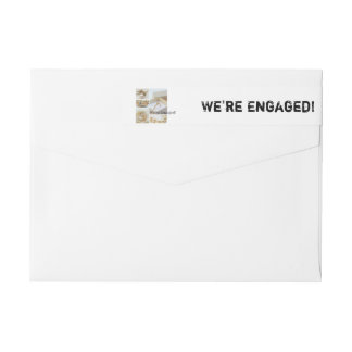 White collage engagement announcement wraparound return address label