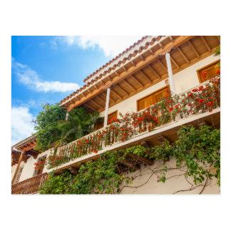 White Colonial Balcony Postcard
