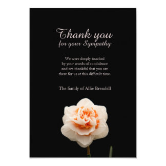 White Color Carnation Bereavement Thank You Card