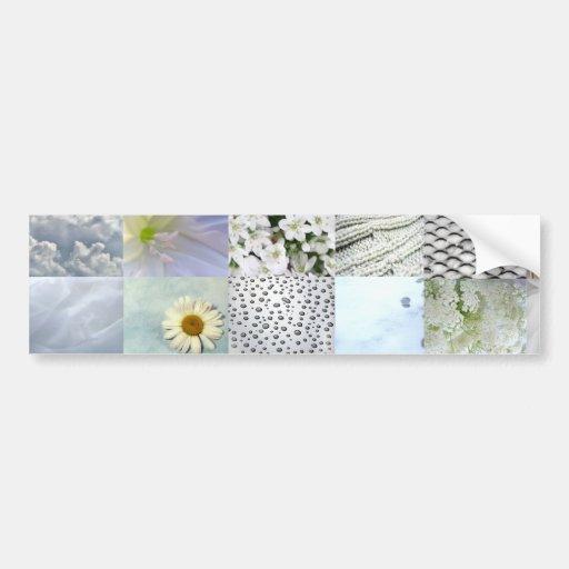 White Color Photograph Collage Bumper Stickers