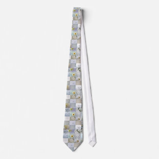 White Color Photograph Collage Tie