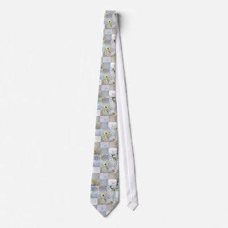 White Color Photograph Collage Tie