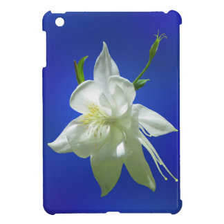 White Columbine on Blue Case For The iPad Mini