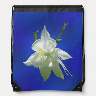 White Columbine on Blue Drawstring Bag