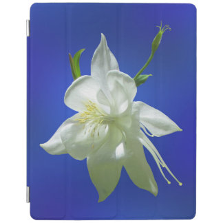White Columbine on Blue iPad Cover