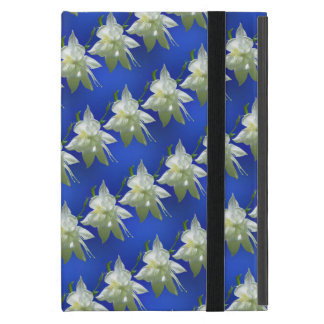 White Columbine on Blue iPad Mini Cover