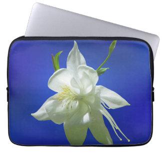 White Columbine on Blue Laptop Sleeve