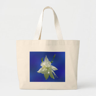 White Columbine on Blue Large Tote Bag