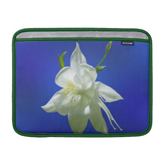 White Columbine on Blue MacBook Sleeve