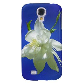 White Columbine on Blue Samsung Galaxy S4 Cases