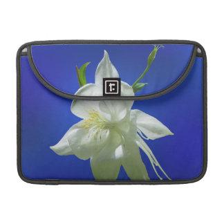 White Columbine on Blue Sleeve For MacBook Pro