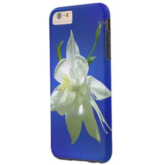 White Columbine on Blue Tough iPhone 6 Plus Case