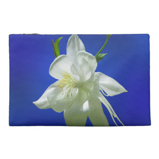 White Columbine on Blue Travel Accessory Bag