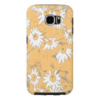 White Cone Flowers with Orange Background Samsung Galaxy S6 Cases