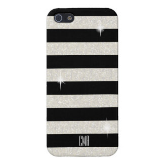 White Confetti Glitter & Black Stripes | Monogram iPhone 5/5S Covers
