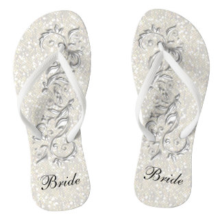 White Confetti Glitter & White Metallic | Bride Thongs
