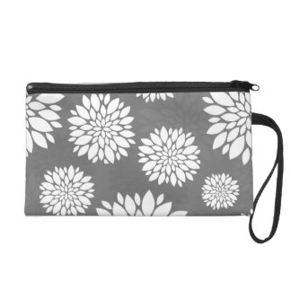 White Contemporary Flowers Wristlet Clutch