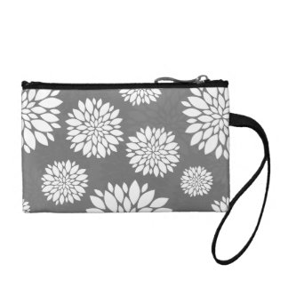 White Contemporary Flowers Coin Purses