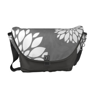White Contemporary Flowers Commuter Bags