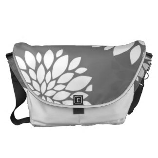 White Contemporary Flowers Courier Bags